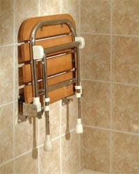 shower bench teak folding